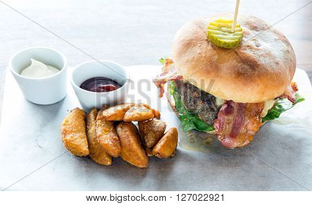 Angus beef Cheese hamburger with french fries