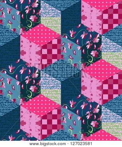 Seamless patchwork pattern. Cute vector illustration of quilt.