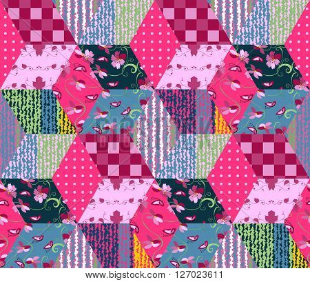 Seamless patchwork pattern. Bright quilt with colorful rhombus patches. Vector illustration.