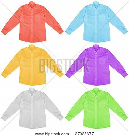 Colorful shirts with long sleeves isolated on white background.