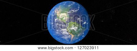 3D illustration of planet Earth with continents and blue ocean waters. Elements of this image furnished by NASA.