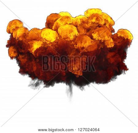 3D illustration of explosion fire cloud on white background