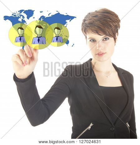 Young businesswoman with virtual worldwide friends isolated on white background