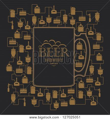 Card template - mug with label on background with beer brewery elements, icons, logos, design elements. Brewing process, brewery factory production elements, traditional beer crafting. Vector