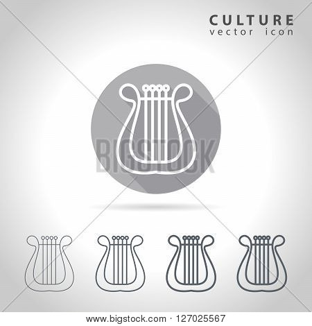 Culture outline icon set collection of harp images vector illustration