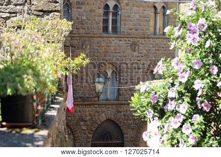 Some details of medieval Italian cities. medieval palace at Volterra