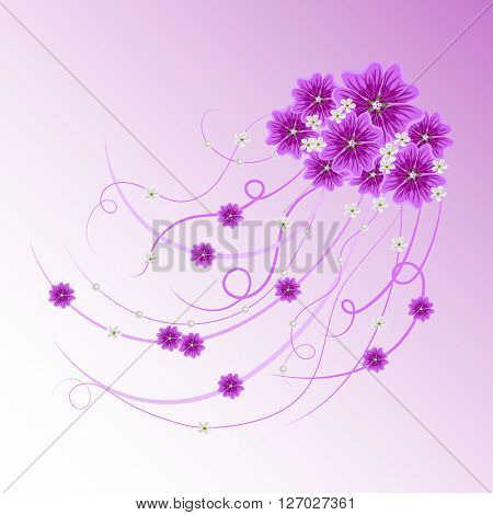 Arrangement of violet mallows, white flowers and ribbons with pearls  for greeting card or invitation design. Floral vector background.