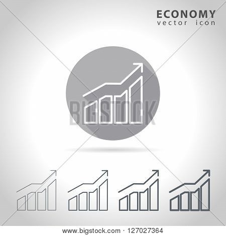 Economy outline icon set, collection of charts, vector illustration
