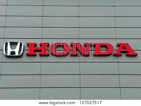 YAROSLAVL RUSSIA - APRIL 9 2016: Logotype of Honda corporation on April 9 2016. Honda is the japanese automotive manufacturer.