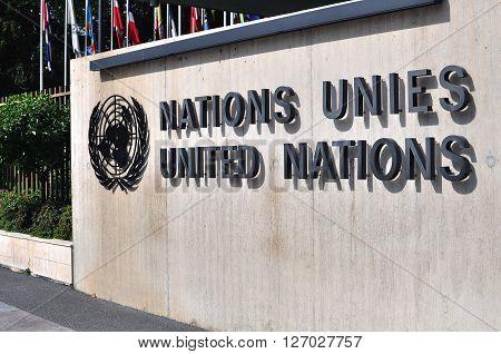 GENEVA SWITZERLAND - SEPTEMBER 3: The United Nation sign in Geneva on September 3 2015. Geneva is the second largest city of Switzerland.