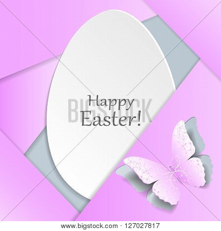 Happy Easter greeting card. White egg and pink butterfly with plant pattern cut out of paper. Material design style.