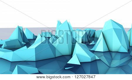 3D illustration of relief mathematic model on glance surface
