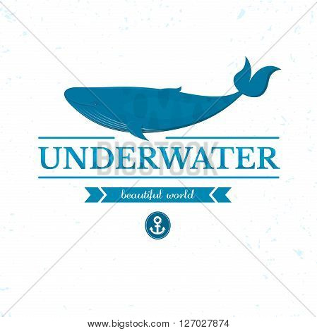 Underwater lettering with big whale, oceanarium logo, vector illustration