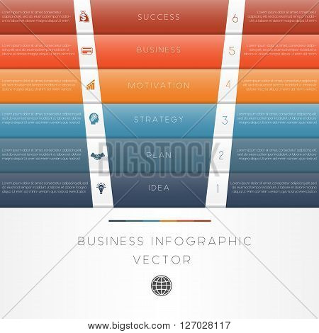 Colour strips vector illustration template of business infographic numbered six position