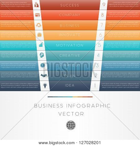 Colour strips vector illustration template of business infographic numbered nine position