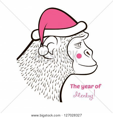 Holiday card with a New year, pencil drawing monkey in color Santa Claus cap, outline cartoon character face in profile and calligraphy inscription congratulation, vector illustration  doodle style