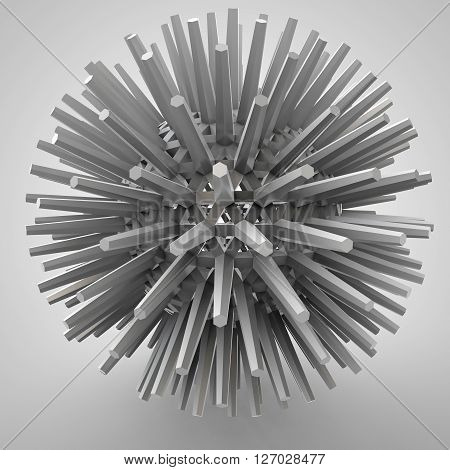 3D illustration of three-dimensional object like techno polyhedron star