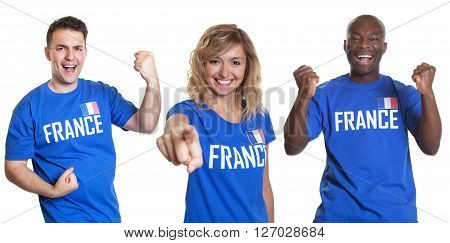 Set of three cheering sport fans from France on an isolated white background for cut out