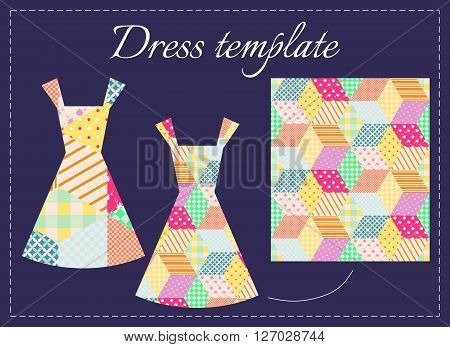 Card with two beautiful summer dresses and patchwork pattern. Fashion design. Vector illustration.