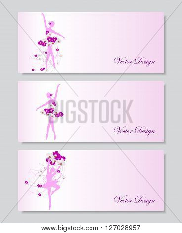 A set of horizontal vector banners with tender ballerinas in floral dress.