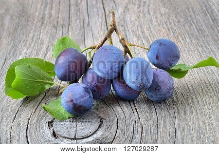 Fresh plums on the gray wooden table