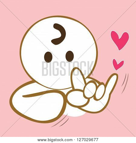 Pantomime cartoon cute sign language I love you acting portrait design background pink color have heart