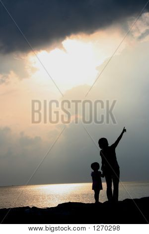 Silhouette Mutter & Tochter