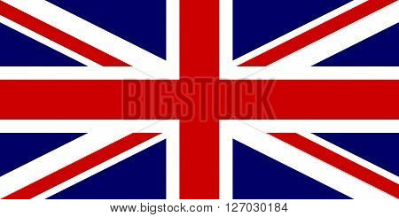 Flag of the United Kingdom in correct proportions and colors. This is the 1:2 national version.