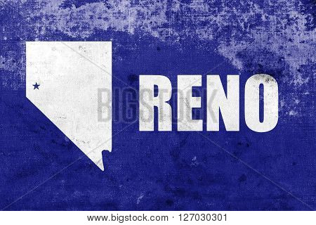 Flag Of Reno, Nevada, With A Vintage And Old Look