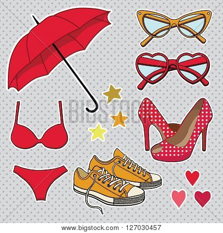 vector set with fashion accessories isolated on background