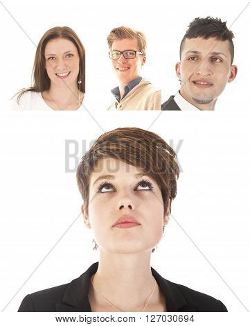 Young businesswoman with friends isolated on white background