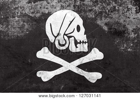 Henry Every Pirate Flag, With A Vintage And Old Look