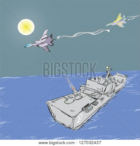 Illustration of the military jets attacking a warship, concept of modern conflicts