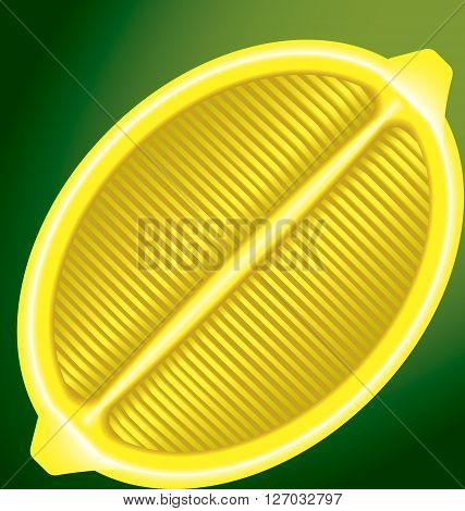 fresh lemon in a longitudinal section on a green background