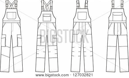 Vector illustration of work overalls with braces
