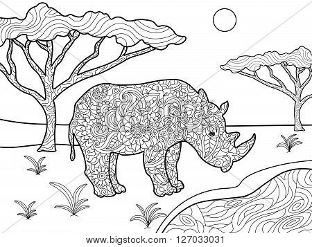 Rhinoceros coloring book for adults vector illustration. Anti-stress coloring for adult. Zentangle style. Black and white lines. Lace pattern