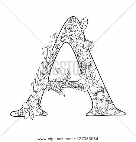 Floral alphabet letter coloring book for adults vector illustration. Anti-stress coloring for adult. Zentangle style. Floral font. Black and white lines. Lace pattern