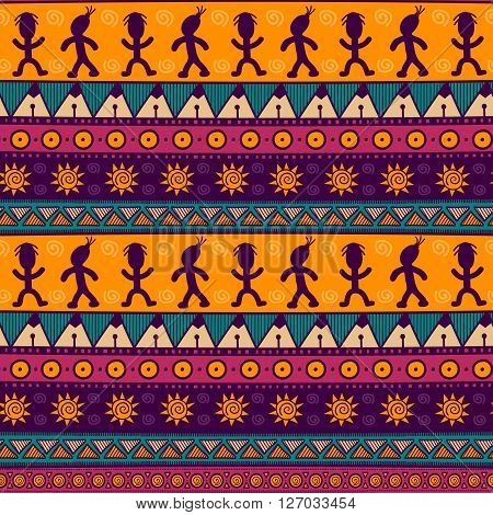 Ethnic tribal seamless pattern. Colorful aztec background texture in vector. Great choice for cloth design, wallpaper, textile, wrapping and other pattern fills