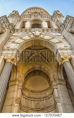 Facade Basilica Notre Dame de Fourviere, bottom view, Lyon, France