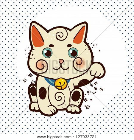 Happy Japanese cat Maneki-neko. Traditional mascot in the style of old school tattoos. Amulet for design of cards good wishes print on t-shirt
