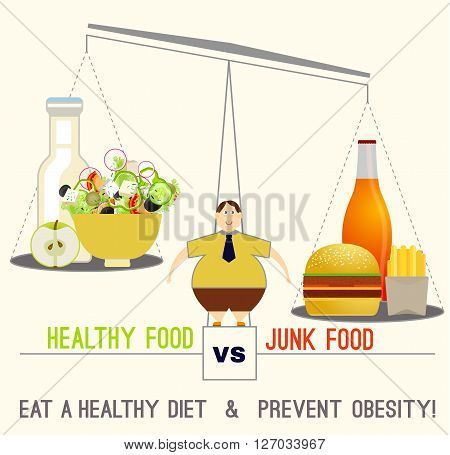 Proper nutrition concept. Comparison of unhealthy and healthier choices. Editable vector image in modern flat style on a light beige background. Eat a healthy diet and prevent obesity.