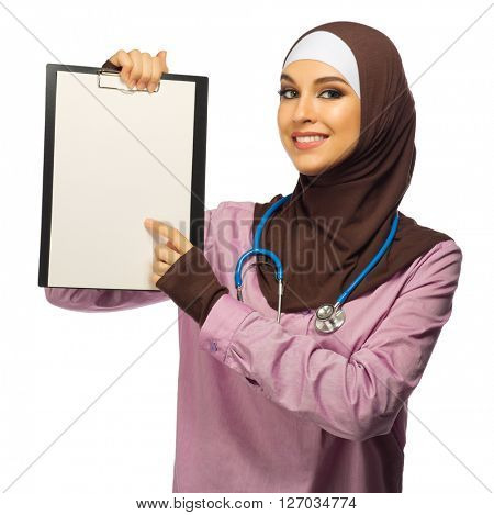Muslim woman medical doctor isolated