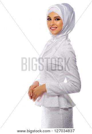 Muslim woman in white dress isolated