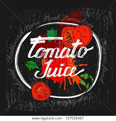 Hand drawn tomato juice image  in artistic style. Vector illustration on a textured dark gray background. Tomatoes and tomato juice in a glass in red, white, black and green colors.