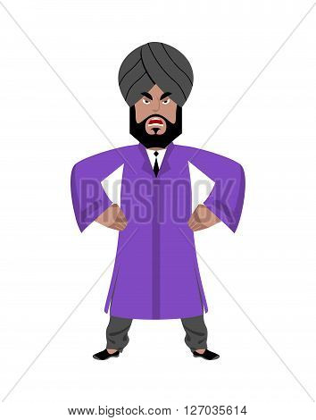 Angry Indian Businessman. Man From India In National Clothes. Turban And Tie. Hindu With Beard In Tr