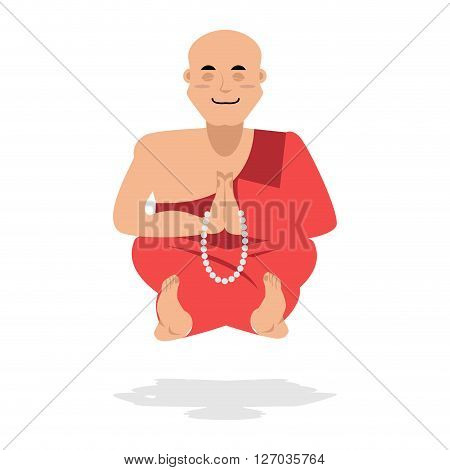 Tibetan Monk Meditating. Yoga Buddhist Tibet. Novice Monastery In Burgundy Dress. Rosary Prayer. Rec