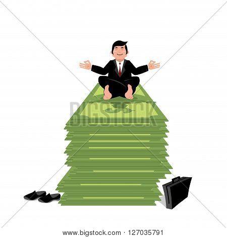 Financial Yoga. Business Meditation. Businessman Meditating On Pack Of Money. Stack Of Cash. Man Pra