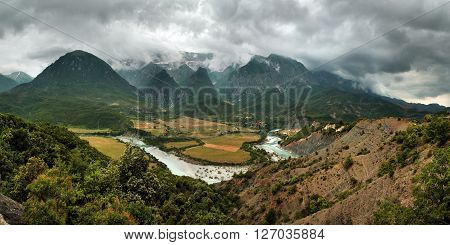 Vjosa River Valley in the Permet district, southern Albania