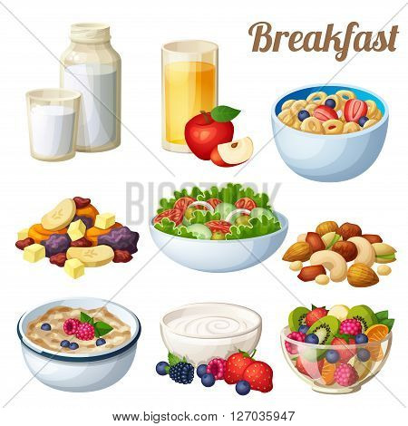 Breakfast 2. Set of cartoon vector food icons isolated on white background. Milk, apple juice, cold cereal, nuts, dried fruits, greek salad, oatmeal, yohurt, fruit salad.
