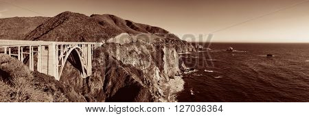 Bixby Bridge panorama as the famous landmark in Big Sur California.